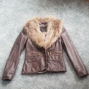 NWT Guess faux leather/ fur jacket